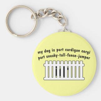 Part Cardigan Corgi Part Fence-Jumper Basic Round Button Keychain