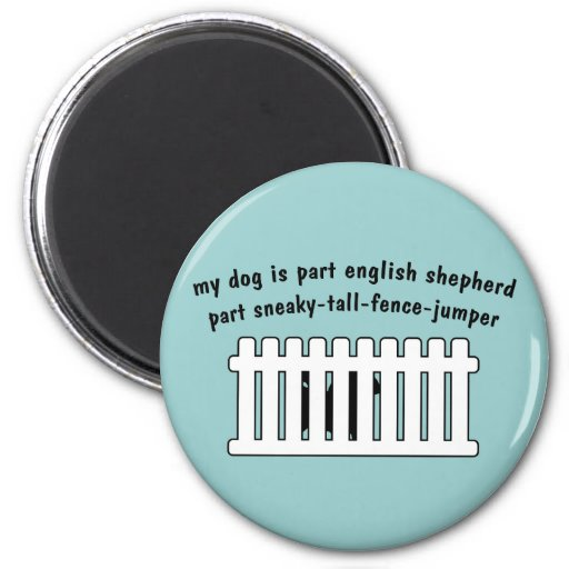 Part English Shepherd Part Fence-Jumper Refrigerator Magnets