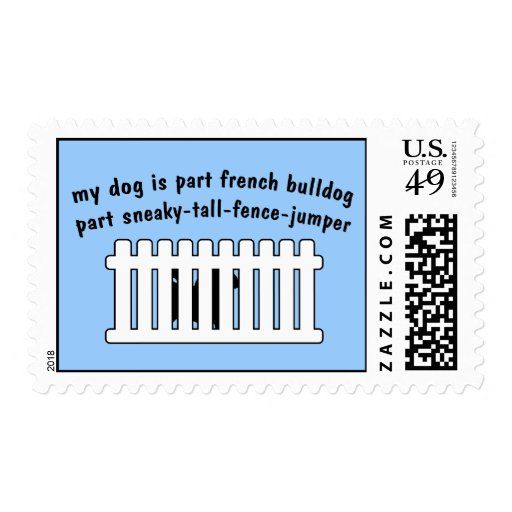 Part French Bulldog Part Fence-Jumper Postage Stamp