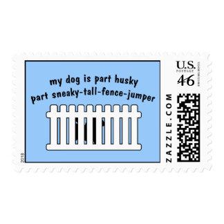 Part Husky Part Fence-Jumper Postage Stamps
