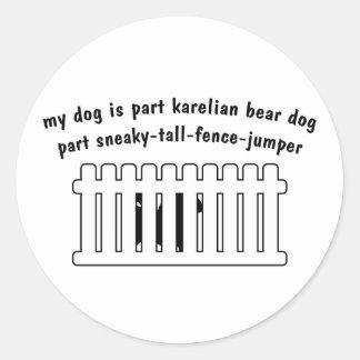 Part Karelian Bear Dog Part Fence-Jumper Round Stickers