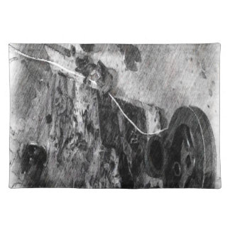 Part of a boat engine cloth placemat