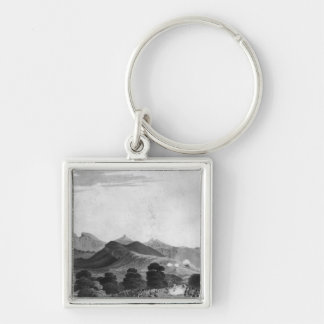 Part of British Army forming before Port Louis Silver-Colored Square Keychain