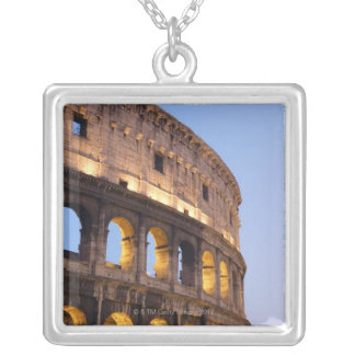Part of Colosseum at dusk Silver Plated Necklace