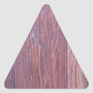 Part of the wooden door brown close-up with brass triangle sticker