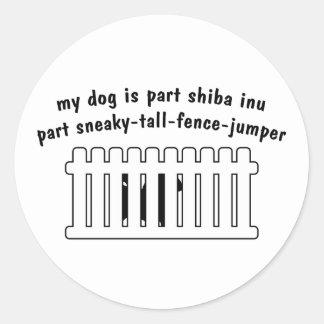 Part Shiba Inu Part Fence-Jumper Classic Round Sticker
