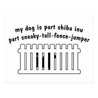 Part Shiba Inu Part Fence-Jumper Postcard