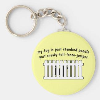 Part Standard Poodle Part Fence-Jumper Basic Round Button Keychain