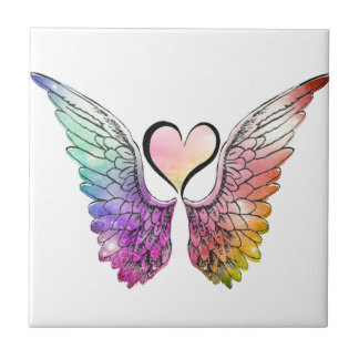 Parte - alas y corazón del ángel azulejo cuadrado pequeño