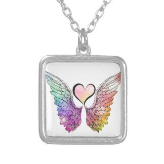 Parte - alas y corazón del ángel colgante cuadrado
