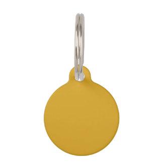 Parte alta amarilla oscura coloreada placa de mascota