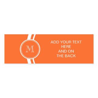Parte alta anaranjada coloreada con monograma tarjetas de visita mini