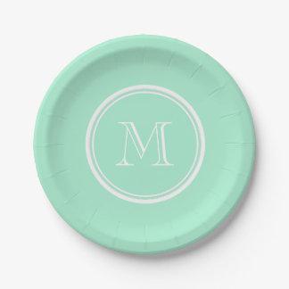 Parte alta ligera de la verde menta coloreada el plato de papel de 7 pulgadas