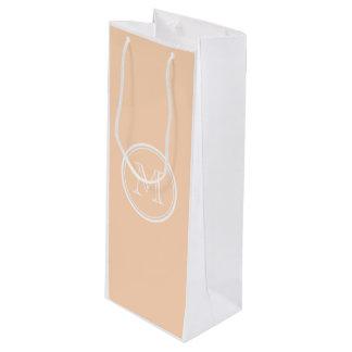 Parte alta personalizada del soplo del melocotón bolsa de regalo para vino