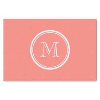 Parte alta rosada coralina inicial del monograma papel de seda pequeño