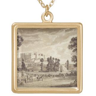 Parte de la ciudad y del castillo de Ludlow en Shr Colgante Cuadrado