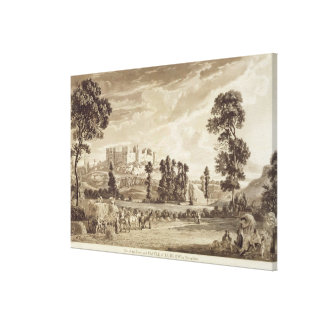 Parte de la ciudad y del castillo de Ludlow en Shr Impresión En Lona