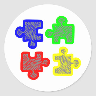 Parte de puzle jigsaw puzzle pegatina redonda