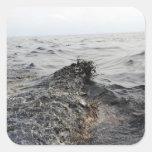 Parte de un pulido de aceite en el Golfo de México Pegatina Cuadrada