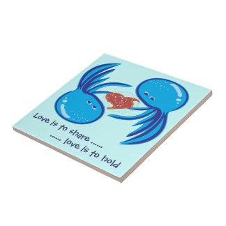 Parte del amor de las medusas y teja azules del as