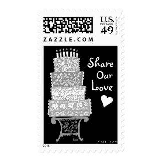 Parte del pastel de bodas nuestro gris del sellos
