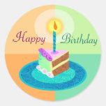 Parte del pegatina de la torta de cumpleaños