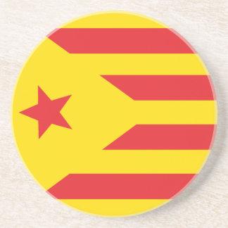 """Parte inferior - de - vidrio Bandera Catalana """"Ser Posavasos Manualidades"""