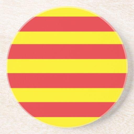 """Parte inferior - de - vidrio Bandera Catalana """"Ser Posavasos Diseño"""