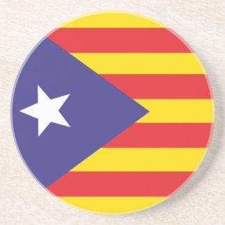 """Parte inferior - de - vidrio Bandera Catalana """"Ser Posavasos Para Bebidas"""