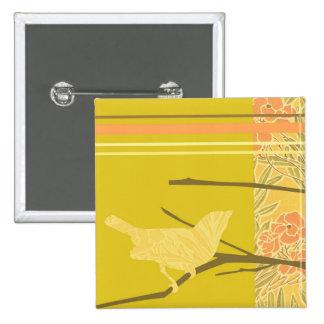 Parte inferior del diseño del pájaro 2 del amor pin cuadrado