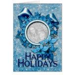 PARTE MOVIBLE azul del copo de nieve SU FOTO Tarjeta