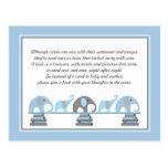 Parte movible azul y gris del elefante para la fie postales