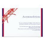 Parte movible blanco y azul rojo del boda invitación 8,9 x 12,7 cm