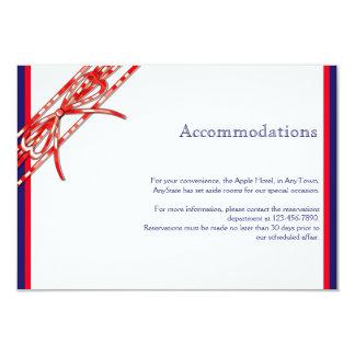 """Parte movible blanco y azul rojo del boda invitación 3.5"""" x 5"""""""