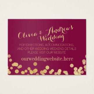 Parte movible de la información del boda del vino tarjeta de negocios