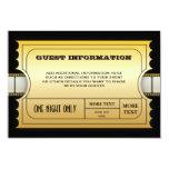 Parte movible de oro del billete de grupo de la invitacion personal