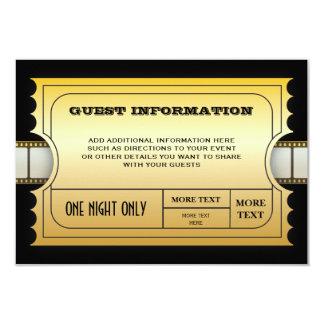 """Parte movible de oro del billete de grupo de la invitación 3.5"""" x 5"""""""