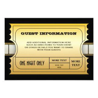 Parte movible de oro del billete de grupo de la pe invitacion personal