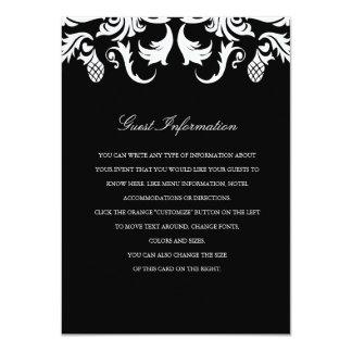 """Parte movible negro elegante del boda del damasco invitación 4.5"""" x 6.25"""""""