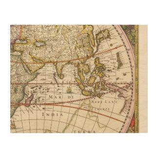 Parte mural 6 del mapa del mundo del vintage 9 del cuadros de madera