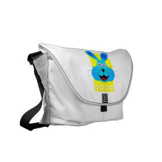 parte posterior azul brillante del amarillo de la  bolsas de mensajería