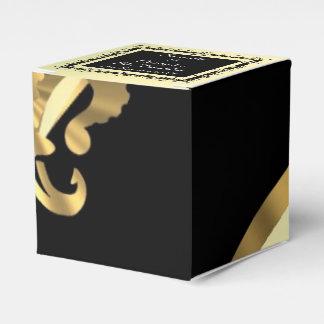 Parte posterior, boda de la flor de lis del oro cajas para detalles de boda