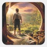 Parte posterior de Bilbo en collage del condado Pegatina Cuadradas Personalizada