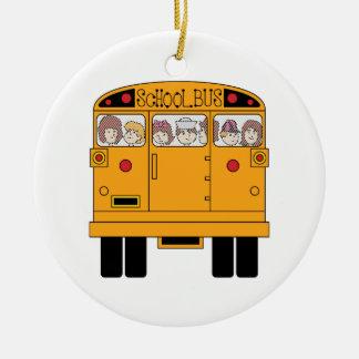 Parte posterior del autobús escolar adorno navideño redondo de cerámica