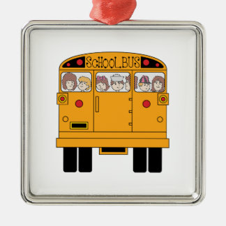 Parte posterior del autobús escolar adorno cuadrado plateado