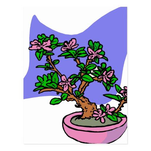 Parte posterior floreciente rosada del azul del po tarjetas postales