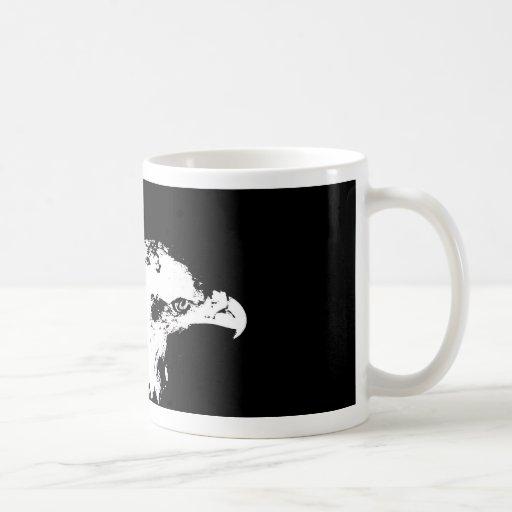 parte posterior gráfica blanca del negro de la der tazas de café