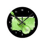 parte posterior green.png de la roca de la guitarr relojes de pared