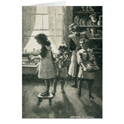Parte posterior in 1920 del tiempo de la familia tarjeta