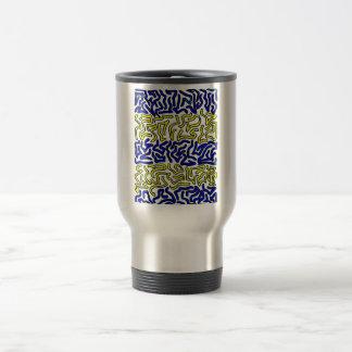 parte posterior maciza azul y amarilla del blanco taza térmica